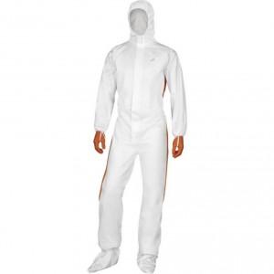 Overall with hood non-woven, singe use white-orange, Delta Plus