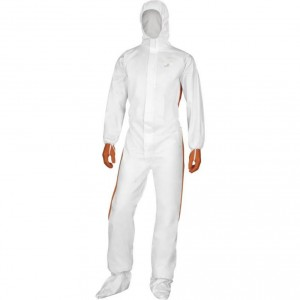 Overall with hood non-woven, singe use white-orange 2XL, Delta Plus