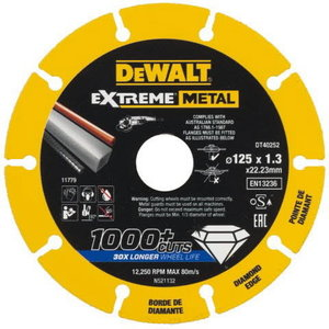 Diamond cutting disc 125x22,23x1,3 mm, for metal, DeWalt