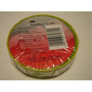 Izoliacinė juosta 19mm x 20m  Temflex 1500 žalia/geltona, 3M
