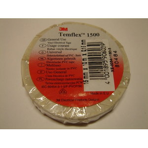 Elektriisolatsiooniteip Temflex 1500 19mm x 20m valge, , 3M