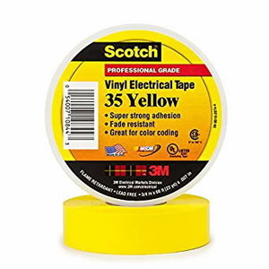 Scotch Electrical Colour Coding Tape Vinyl 19 mmx20 M yellow, , 3M