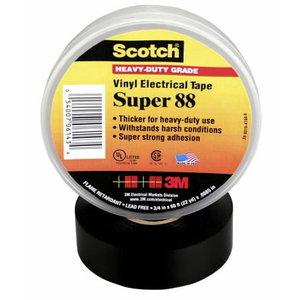 Elektriisolatsiooniteip SUPER 88 must 19mmx20m, 3M