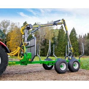 Forestry trailer with crane  T8 C5,3D, Farma