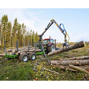 Forestry trailer with crane  Premium T9 C6,3D Ext, Farma