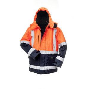 Ziemas jaka ar kapuci 8945, zila/oranža, S izmērs S