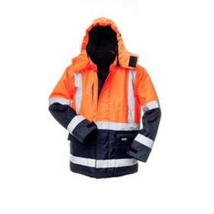 Žieminė striukė su gobtuvu 8945 t. mėlyna/ oranžinė XL