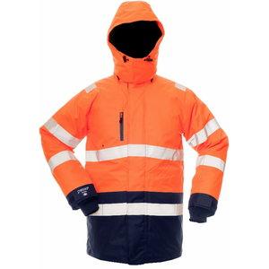 Žieminė striukė su gobtuvu B CANVAS 8955, oranžinė/mėlyna 2XL