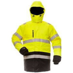 Hi. vis winter parka with hood  B CANVAS 8958, yellow/black L