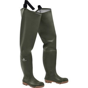 Rubber safety boots high Fisher2  S5 SRA, roheline, DELTAPLUS