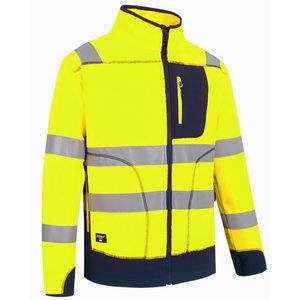 Augstas redzamības flīsa jaka FL02, dzeltena/tumši zila, XL, Pesso