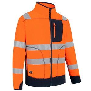 Augstas redzamības flīsa jaka FL02, oranža/tumši zila, Pesso