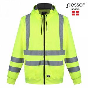 Hi. vis sweatshirt hooded, FLO3, CL2, yellow, Pesso