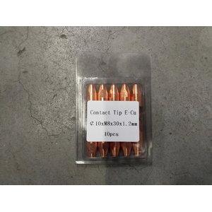 Contact tip M8x30x10 - 1,0mm E-Cu, Premium1