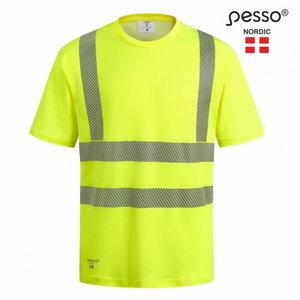 T-särk HVMCOT puuvill kõrgnähtav CL2, kollane, Pesso