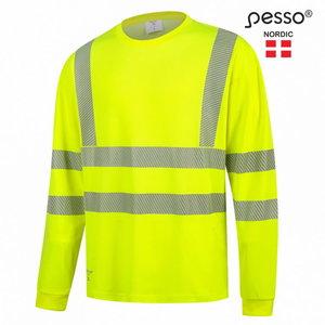 T-särk HVMIL pikk varrukas kõrgnähtav CL2, kollane, Pesso