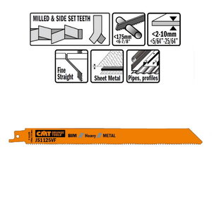 5 SABRE SAW BLADES FOR METALS (BIM) 225x2,5x10TPI, CMT