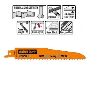 5 SABRE SAW BLADES FOR METALS (BIM) 150x2,9x9TPI, CMT