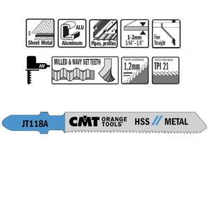 Figūrzāģa asmeņi metālam 50x1,2mm Z21TPI HSS 5gab., CMT