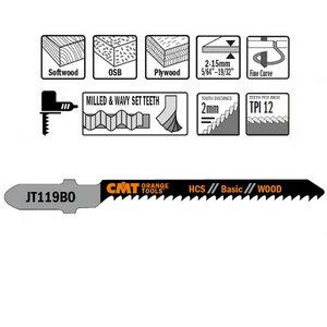 Jig saw blades for wood 50x2/12TPI HCS 5pcs/pack, CMT
