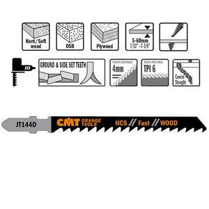 Jig saw blade for wood 75x4mm Z6TPI HCS 5pcs., CMT