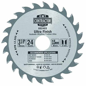 Sawblade Contractor 85x1,1/15mm Z24, CMT