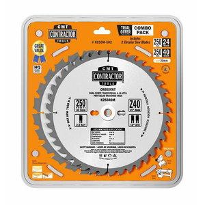 Pjovimo diskų rinkinys 250x2,6/30mm Z24/40 20°/15° 2 vnt., CMT