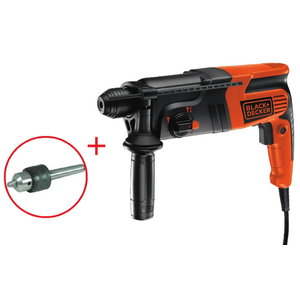 Pneumatic hammer drill KD885KC + additional chuck, Black+Decker