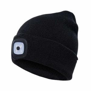 Kepurė su įkraunama LED lempute, juoda STD, Pesso