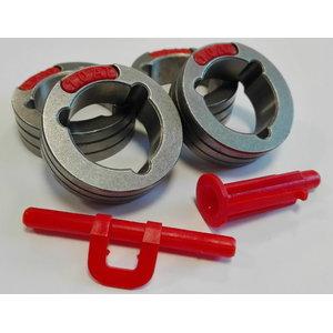 Feed rolls 4pcs red/orange PF22/26/PowerteciC Al.1,0-1,2mm, Lincoln Electric