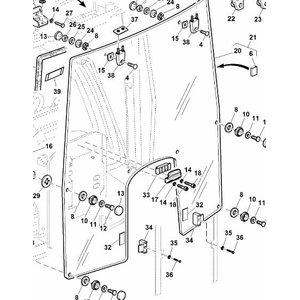 Stiklas kabinos priekinis, John Deere