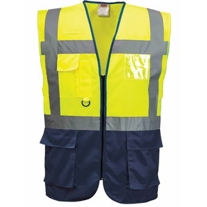 Augstas redzamības veste LSGMP, dzeltena/tumši zila, 2XL XL, Pesso
