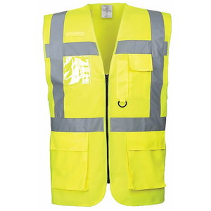 Hi.vis vest LSGP with zipper, CL2 yellow, Pesso