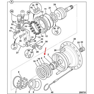 Guolis reduktoriaus, hidraulinio variklio, JCB