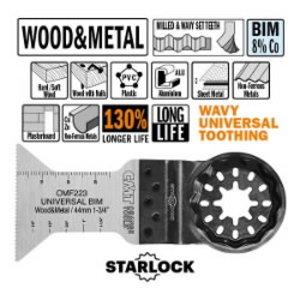 Įgilinamo pjovimo peilis metalas, medis 44mm Z1,4mm BiM Co8 STARLOCK, CMT