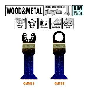 Peiliai ÄÆgilinamam pjovimui OMM-OMS-35 BIM 43 mm metalas, m, CMT