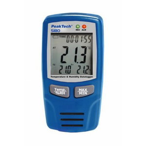 Air Temp and Humidity Datalogger -40...+70°C, 0-100% RH , 0-100% RH, PeakTech