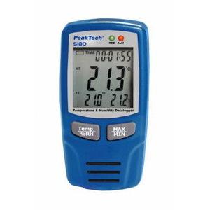 Air Temp and Humidity Datalogger -40...+70°C, 0-100% RH , 0-100% RH, PeakTech