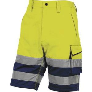 Tööpüksid lühikesed Bermuda, kõrgnähtav CL1 kollane/sin, Delta Plus