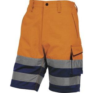 Tööpüksid lühikesed Bermuda, kõrgnähtav CL1 oranz/sinine XL, DELTAPLUS