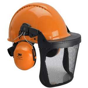 Forestry set with helmet, earmuffs, visor and raincover, 3M
