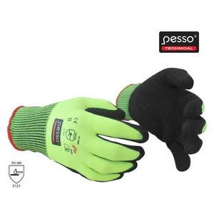 Knitted nylon gloves, nitrile coating palm. neongreen/black 8, Pesso