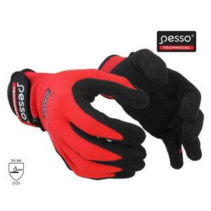 Knitted nylon gloves, nitrile coating palm. red/black 9, Pesso