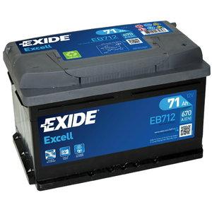 аккумулятор для запуска EXCELL 71Ah 670A 278x175x175-+, EXIDE