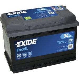 аккумулятор для запуска  EXCELL 74 Ач 680A 278 синяя175 синяя190--, EXIDE