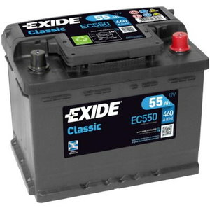 аккумулятор для запуска CLASSIC 55Ah 460A 242x175x190-+, EXIDE