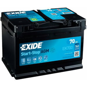 Akumulators AGM 70Ah760A 278x175x190 -+, Exide