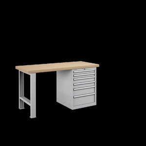 Workbench with drawer box (7 drawers) 1500mm, FAMEPLA