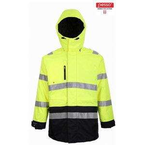 Augstas redzamības ziemas jaka Montreal, dzeltena/tumši zila