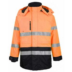 Augstas redzamības ziemas jaka Montreal, oranža/tumši zila 4 4XL, Pesso